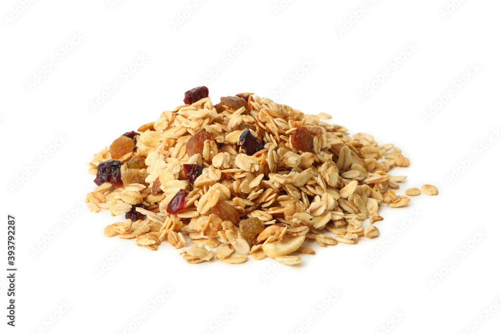 Fototapeta Granola with nuts and raisins isolated on white background