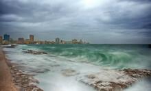 Havana Boardwalk And Waves