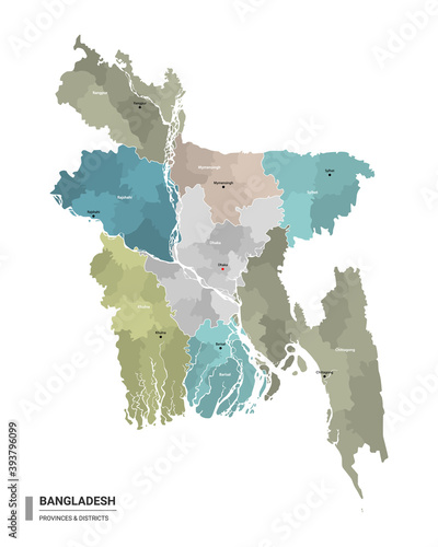 Photo Bangladesh higt detailed map with subdivisions