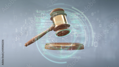 Fotografering Justice hammer and data - 3d rendering