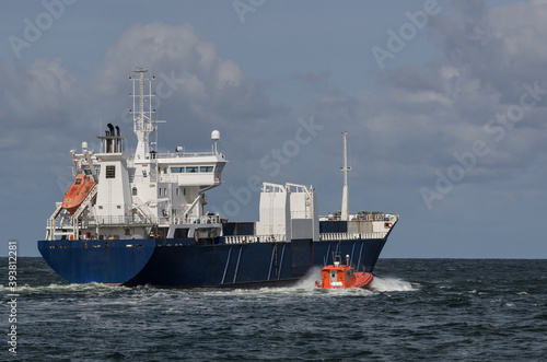 MERCHANT VESSEL  - The freighter follows waterway Canvas