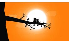 Vector Birds With The Moonlight, Eps10 Vector Illustration.