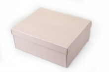 Empty Pink Paper Box With A Li...