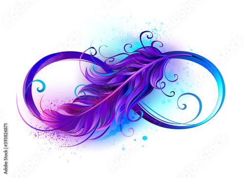 Infinity symbol with purple feather