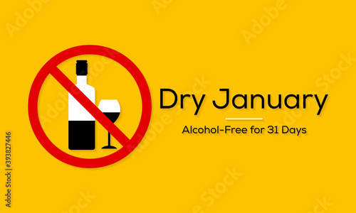 Dry January is a public health campaign urging people to abstain from alcohol for the month of January, Vector illustration Canvas Print