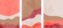 Minimalist Abstract Hand Painted Wave Flyers Set