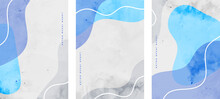Minimalist Fluid Shapes Abstract Flyers Set In Blue Colors