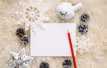 Flat Lay View Of Empty Sheet Of White Paper For Making Christmas Gifts Wish List Or Write A Letter To Santa Clause, Christmas White Minimalist Traditional Commercial Background.
