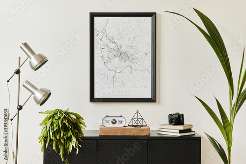 Stylish composition of living room interior with design black commode, a lot of plants, mock up poster map, decoration, silver lamp and elegant personal accessories. template. Modern home decor.