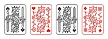 King And Queen Playing Card Vector Illustration Set Of Hearts, Spade, Diamond And Club In Red And Black Color