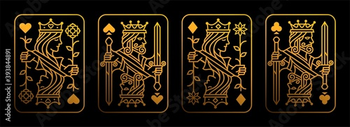 Fototapeta Golden King and queen playing card vector illustration set of hearts, Spade, Diamond and Club, Royal card design collection obraz