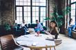Leinwandbild Motiv Diverse colleagues spending time in loft office
