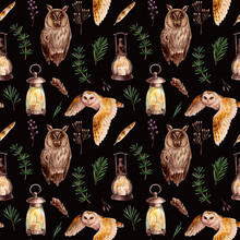 Seamless Watercolor Pattern With Owls