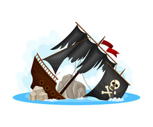 Wreckage Of Pirate Ship Or Vessel With Ripped Black Sail Vector Illustration