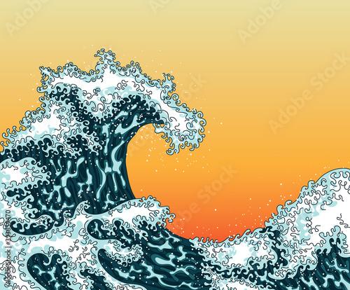 Obraz na plátne Japanese ocean or sea water waves drawing
