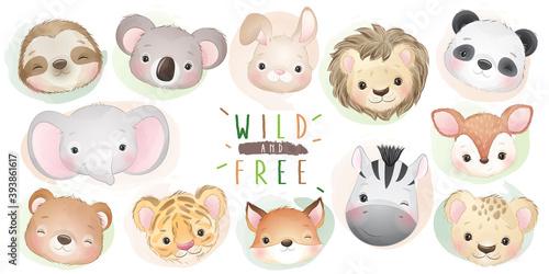 Fototapeta premium Cute doodle animals collection