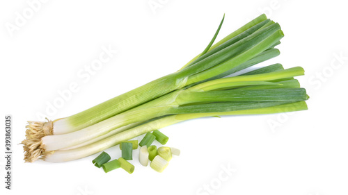Fotografiet Green onion isolated on the white background