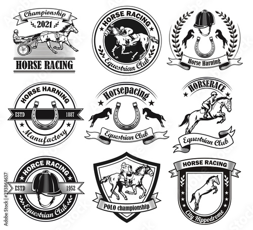 Vintage badges for equine club vector illustration set. Monochrome jockey polo tournament signs. Horse races and racing school concept can be used for retro template, banner or poster