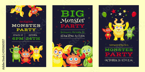 Fotografie, Obraz Monster party invitation designs with funny beasts and mascots