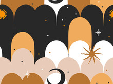 Hand Drawn Vector Abstract Flat Stock Graphic Icon Illustrations Seamless Pattern With Celestial Moon Phases,sun And Stars, Mystic And Simple Collage Shapes Isolated On Color Background