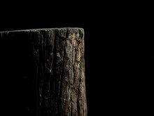 Stump Of Tree Isolated On Black Background