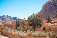 Church And Monastery In Saint Catherine Next To Moses Mountain Egypt, Sinai. Famous Place For Christianity Orthodoxy Pilgrims