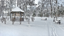 Gazebo In The Winter Park