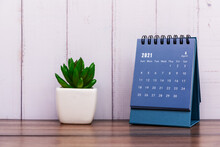 Month Of April 2021 Calendar Blue Color, Rustic White Color Painted Wood Background.