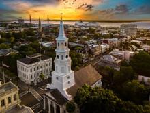 Charleston Skyline At Sunset With Cruise Ship