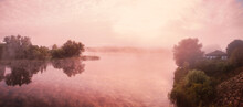 Pink Sky, Mist, Fog Over The R...