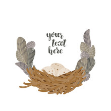 Illustration With Bird Nest With Eggs And Feathers. Decorative Text Frame