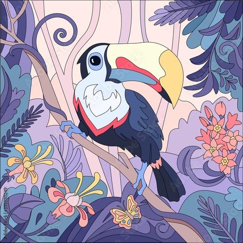 Fototapeta premium Exotic Toucan Bird Composition