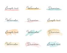 水彩の線・背景・フレームのセット/ブラシ/質感/イラスト/手描き/カラフル/枠/飾り/装飾