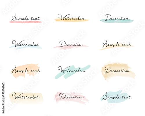 Fototapeta 水彩の線・背景・フレームのセット/ブラシ/質感/イラスト/手描き/カラフル/枠/飾り/装飾 obraz
