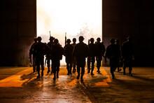 Silhouette Army Soldiers Walking On Floor