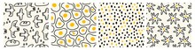 Hand Drawn Doodle Birds, Fried Eggs, Flowers Or Stars, Dots. Trendy Vector Illustrations. Set Of Four Square Abstract Seamless Patterns. Background, Wallpaper, Wrapping Paper Templates.