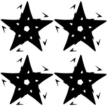Abstract Four Five-pointed Sta...
