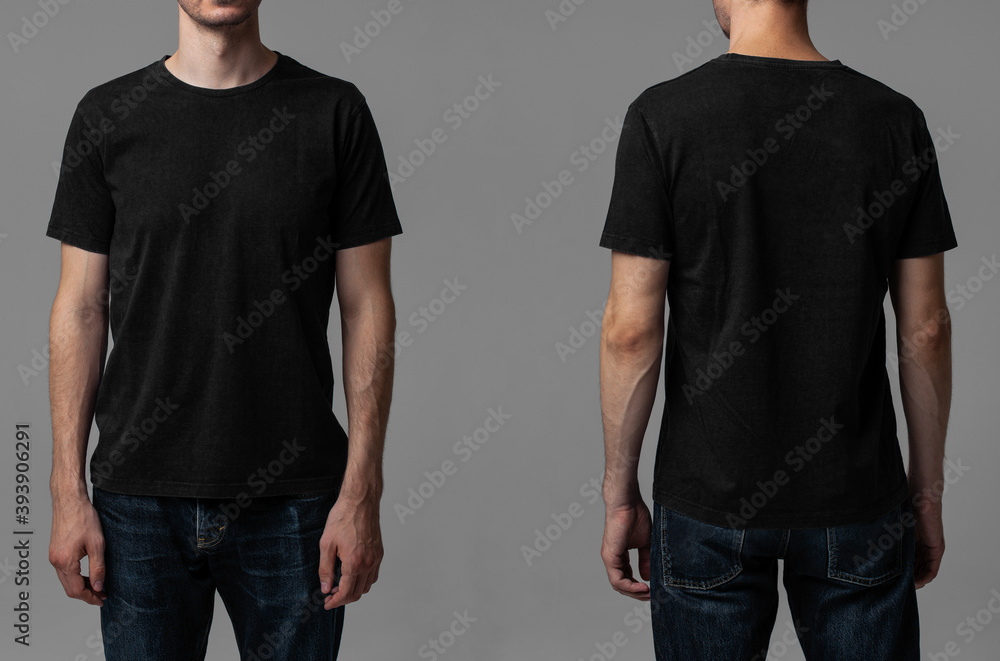 Fototapeta Young male in blank black t-shirt, front and back view. Design men t shirt template and mock-up for branding or print.
