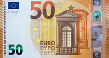 Fragment Part Of 50 Euro Banknote Close Up With Brown Details