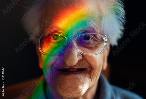 Happy grandmother portrait at home Fototapeta