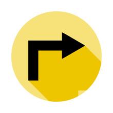 Turn Arrow Icon In Long Shadow...