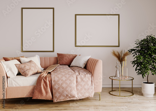 Fototapeta Pink sofa in living room interior concept, sofa on wood floor and white wall with mock-up, 3D render obraz na płótnie
