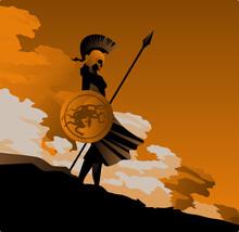 Greek Orange And Black Amphora Drawing Of Athena