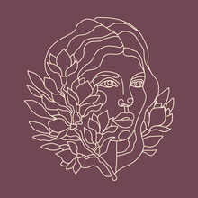 Portrait Of A Beautiful Woman With A White Line On A Dark Background. Vector Illustration For Printing On Cards, Poster. A Lot Of Magnolia Flower On A Branch Intertwined With The Girl S Hair. Line Art