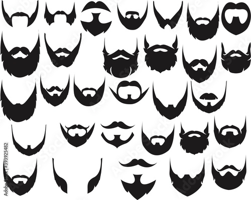 Tablou Canvas Different style of beard set vector. Vector illustration