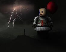 Figurine Against Forked Lightning Against Sky