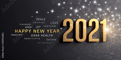 Happy New Year greetings and 2021 date number, colored in gold, on a festive black card, with glitters and stars