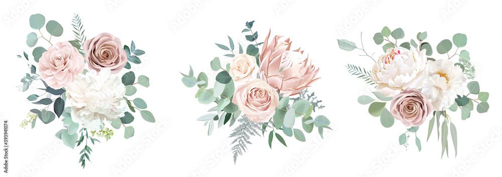 Fototapeta Pale pink camellia, dusty rose, ivory white peony, blush protea, nude pink ranunculus