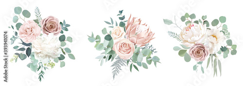 Photo Pale pink camellia, dusty rose, ivory white peony, blush protea, nude pink ranun