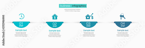 Obraz na plátně Vector  infographic template with 4 steps for business